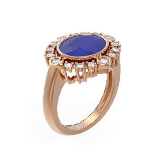 4.54 ctw Sapphire & Diamond Ring 18K Rose Gold -