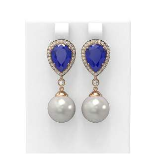 8.03 ctw Sapphire & Diamond Earrings 18K Rose Gold -