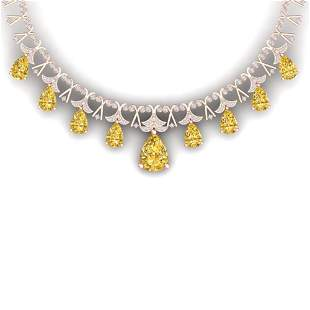 55.49 ctw Canary Citrine & VS Diamond Necklace 18K Rose