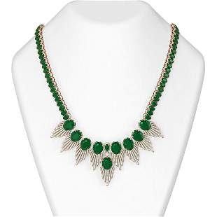 88.87 ctw Emerald & Diamond Necklace 18K Rose Gold -
