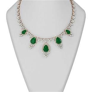 81.97 ctw Emerald & Diamond Necklace 18K Rose Gold -