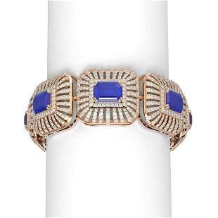 56.47 ctw Sapphire & Diamond Bracelet 18K Rose Gold -