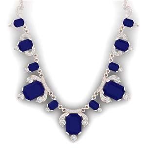 75.21 ctw Sapphire & VS Diamond Necklace 18K Rose Gold