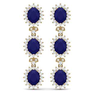 24.52 ctw Sapphire & VS Diamond Earrings 18K Yellow