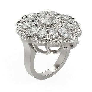 6 ctw Oval Diamond Ring 18K White Gold - REF-1085F8M