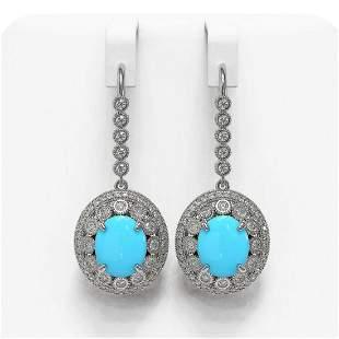 9.62 ctw Turquoise & Diamond Victorian Earrings 14K