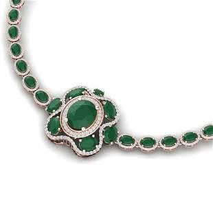 47.43 ctw Emerald & VS Diamond Necklace 18K Rose Gold -