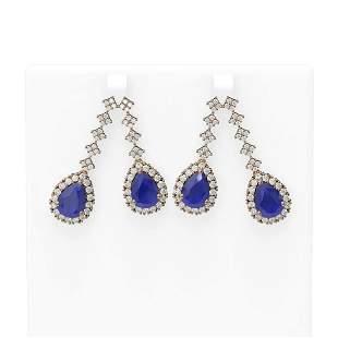 15.49 ctw Sapphire & Diamond Earrings 18K Rose Gold -