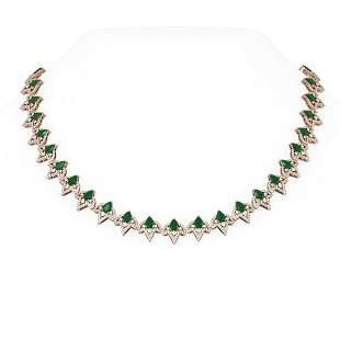 26.76 ctw Emerald & Diamond Necklace 18K Rose Gold -