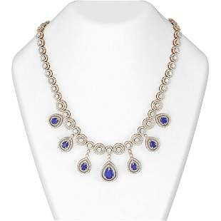35.36 ctw Sapphire & Diamond Necklace 18K Rose Gold -