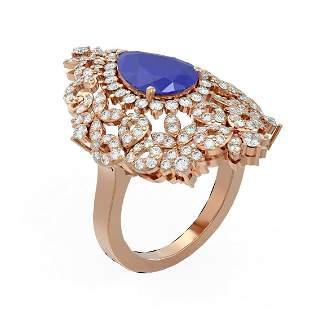 5.77 ctw Sapphire & Diamond Ring 18K Rose Gold -