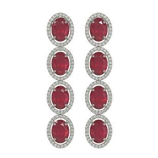 15.68 ctw Ruby & Diamond Micro Pave Halo Earrings 10k