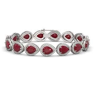 30.06 ctw Ruby & Diamond Micro Pave Halo Bracelet 10k