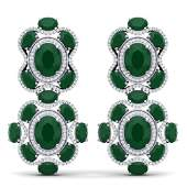 33.5 ctw Emerald & VS Diamond Earrings 18K White Gold -