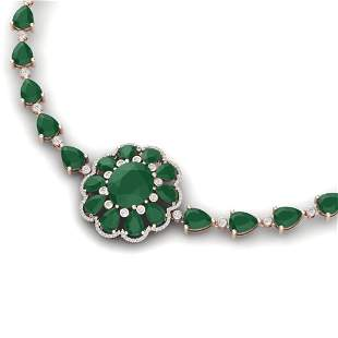 78.98 ctw Emerald & VS Diamond Necklace 18K Rose Gold -