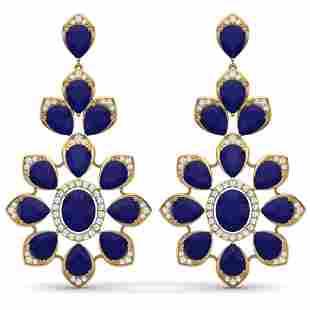 51.8 ctw Sapphire & VS Diamond Earrings 18K Yellow Gold