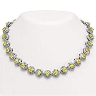 62.37 ctw Canary Citrine & Diamond Victorian Necklace