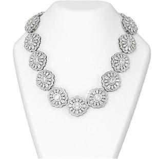 100 ctw Oval Diamond Necklace 18K White Gold -