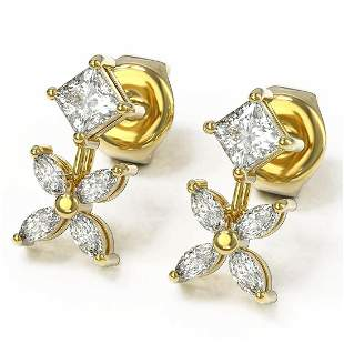 1.5 ctw Princess & Marquise Cut Diamond Earrings 18K