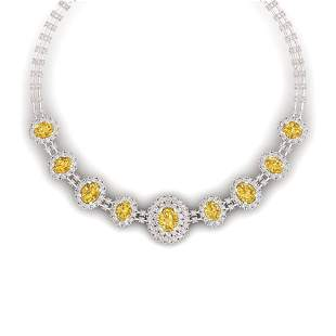43.20 ctw Canary Citrine & VS Diamond Necklace 18K Rose
