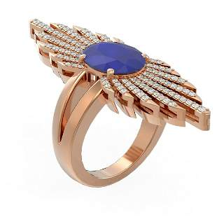 5.07 ctw Sapphire & Diamond Ring 18K Rose Gold -