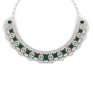 50.44 ctw Emerald & VS Diamond Necklace 18K Rose Gold -