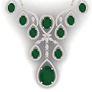 37.66 ctw Emerald & VS Diamond Necklace 18K Rose Gold -