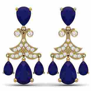 11.97 ctw Sapphire & VS Diamond Earrings 18K Yellow