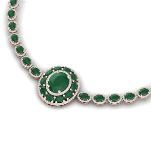 43.54 ctw Emerald & VS Diamond Necklace 18K Rose Gold -