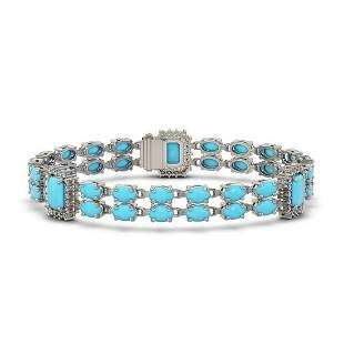 22.08 ctw Turquoise & Diamond Bracelet 14K White Gold -