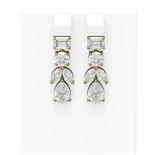 5.68 ctw Diamond Earrings 18K Yellow Gold - REF-1281Y5X
