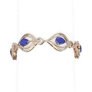 22.03 ctw Sapphire & Diamond Bracelet 18K Rose Gold -