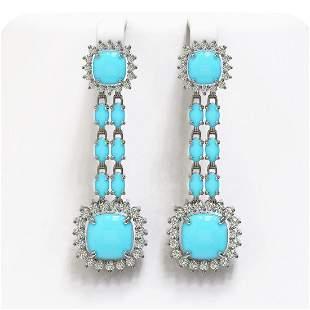 16.04 ctw Turquoise & Diamond Earrings 14K White Gold -