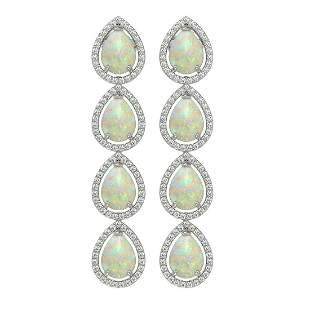 9.12 ctw Opal & Diamond Micro Pave Halo Earrings 10k