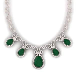 38.42 ctw Emerald & VS Diamond Necklace 18K Rose Gold -