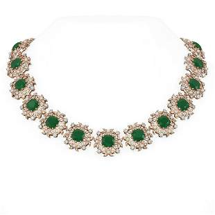 118.91 ctw Emerald & Diamond with Pearl Necklace 18K