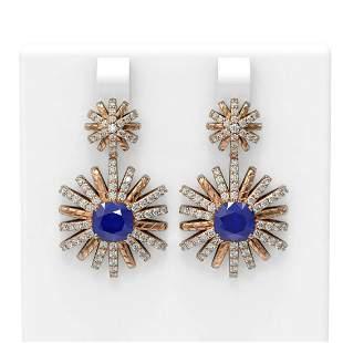 6.23 ctw Sapphire & Diamond Earrings 18K Rose Gold -