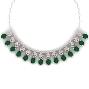54.05 ctw Emerald & VS Diamond Necklace 18K Rose Gold -
