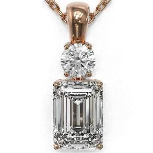 1.25 ctw Emerald Cut Diamond Designer Necklace 18K Rose