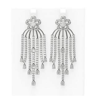 21.48 ctw Diamond Earrings 18K White Gold - REF-2019M3G