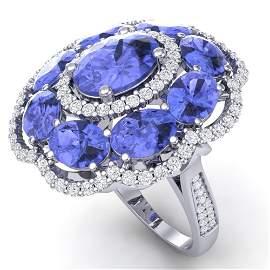 15.24 ctw Tanzanite & VS Diamond Ring 18K White Gold -
