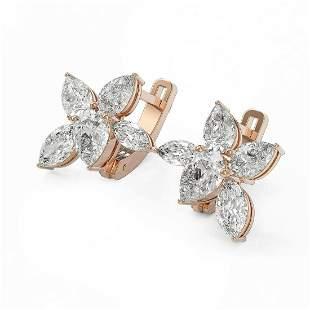 4.82 ctw Pear & Marquise Cut Diamond Earrings 18K Rose