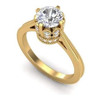 1.5 ctw VS/SI Diamond Art Deco Ring 18k Yellow Gold -