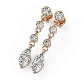3 ctw Marquise Cut Diamond Earrings 18K Rose Gold -