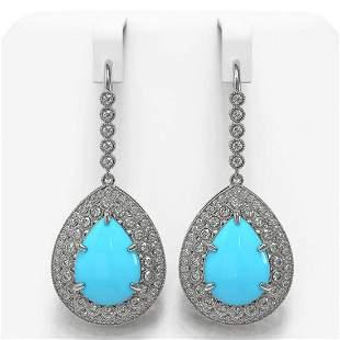 20.22 ctw Turquoise & Diamond Victorian Earrings 14K