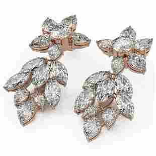 19 ctw Pear & Marquise Cut Diamond Earrings 18K Rose