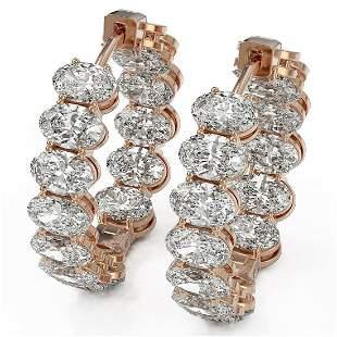 14.28 ctw Oval Cut Diamond Earrings 18K Rose Gold -