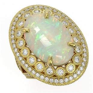 13.57 ctw Certified Opal & Diamond Victorian Ring 14K