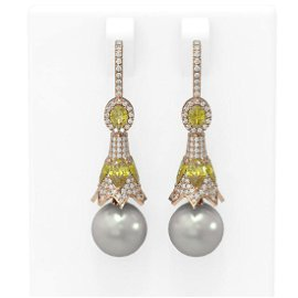5.92 ctw Canary Citrine & Diamond Earrings 18K Rose