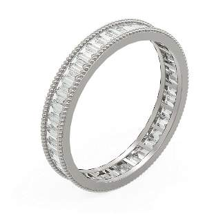 2.87 ctw Baguette Diamond Men's Ring 18K White Gold -